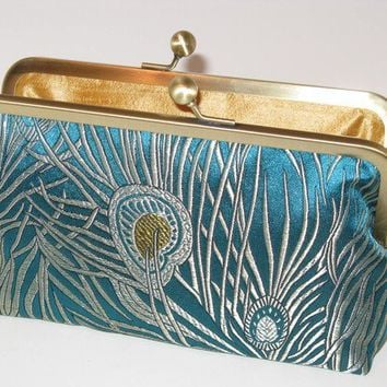 Iridescent Peacock Clutch in Silk Brocade by mermaidsdream on Etsy