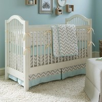 Taupe Chevron Crib Bedding | Boy or Girl Baby Bedding Collection in Taupe and White Zig Zag | Carousel Designs