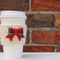 Crochet Coffee Cozy - Reusable Coffee Cup - Coffee Cozy - Tartan Bow - Tartan Plaid - Plaid Bow- Coffee Cozy with Bow - Bow Coffee Cozy