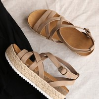 Strappy Sporty Espadrille Flatform Sandal Wedges In Dark Natural