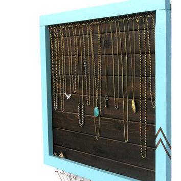 Jewelry Storage // Necklace & Ring Display Organizer // Wall Hanging Jewelry Storage Hooks // Eco-Friendly Reclaimed Wood // Gift