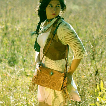 HANDMADE Womens Leather Vest from Mexico, Tree and Flower Embellished Vest, Hippie Vest, Gypsy Vest, Boho Vest Braided Leather S M