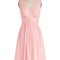 ModCloth Pastel Long Sleeveless A-line Glorious Guest Dress in Rose