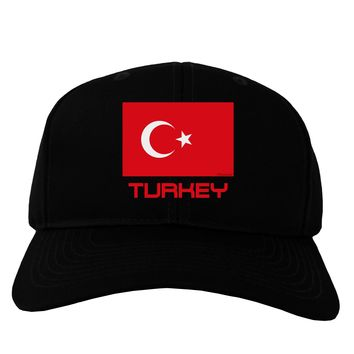 Turkey Flag with Text Adult Dark Baseball Cap Hat by TooLoud