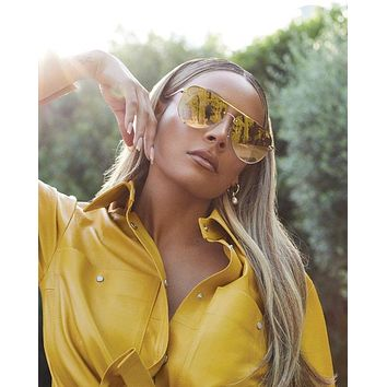 Quay Australia x Desi Perkins - High Key Rimless - Gold/Brown Flash