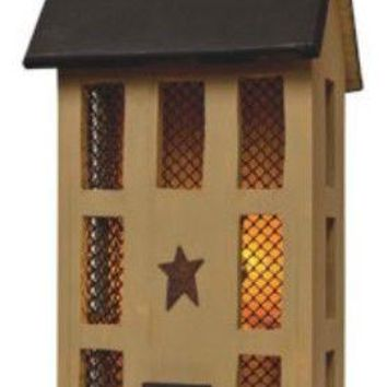 "Primitive Tall Mustard Wooden Electric Lighted 22 "" SALTBOX HOUSE w/Brown Cord"
