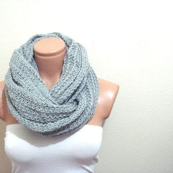 Free Shipping infinity scarf cowl grey gray unisex Circular Scarf, knit crochet scarf, super soft scarf, neckwarmer, gift for her
