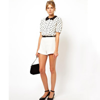 White Cat Print Pleated Back-Buttons Chiffon Blouse