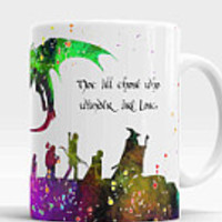 Lord Of The Rings Mug, The Hobbit mug, Lord of The Rings quote coffee cup, Gandalf, Hobbit, Dragon, Watercolor Art Ceramic Mug
