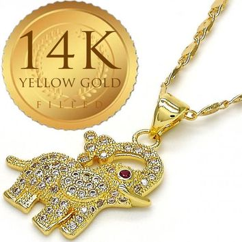 Gold Layered Women Elephant Fancy Necklace, with White Micro Pave, by Folks Jewelry