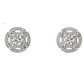 Meghan Markle 1.89TCW Round Cut Russian Lab Diamond Solitaire Platinum Stud Earrings