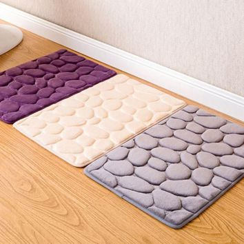 Absorbent Non-slip Cobblestone Rug Kitchen Bathroom Mat Door Mat Carpet Home Decor