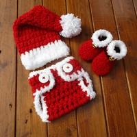 Crochet Newborn Christmas Outfit Red Baby Santa Outfit Photo Prop