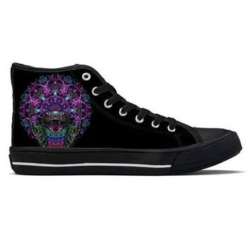 Cosmic Rainbow Serpent by Sam and Cate Farrand - High Top Canvas Shoes