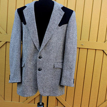 Tweed western jacket / size L / 40 L / Authentic Taos Country USA / vintage 80s wool retro cowboy black / gray sports coat
