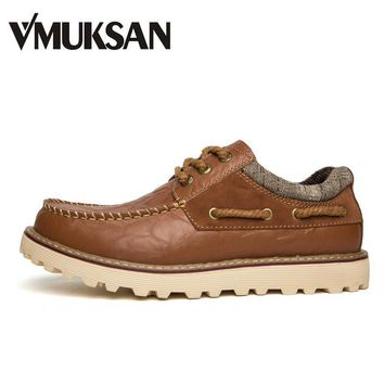 VMUKSAN Fashion Men's Boots Casual Leather Shoes For Man Lace Up 3-eyelet Dress Shoes