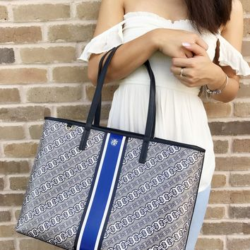 Tory Burch Gemini Link Large Tote French Gray Gemini Link Bias Stripe Kerrington