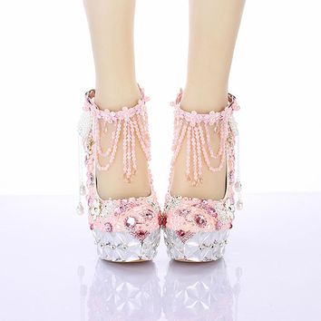 Pearl Pink Tassel wristband crystal pumps waterproof head with a fine dinner toast the bride wedding shoes women's shoes