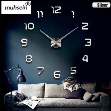 office Home decoration wall clock big mirror wall clock Modern design large size wall clocks diy wall sticker unique gift