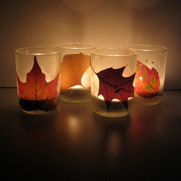 Four Real Autumn Leaf Earth Lights - Candle holders, pressed leaves, leaf, autumn, natural, woodland, rustic, earthy, glass, ooak, gift