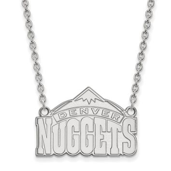 NBA Denver Nuggets Large Pendant Necklace in 10k White Gold - 18 Inch