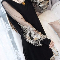 Sheer Sleeve with Floral Embroidery Tunic Dress