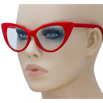 Retro Elite Design Clear Lens RED Cat Eye Frame Women Eyeglasses Nikita Eyewear
