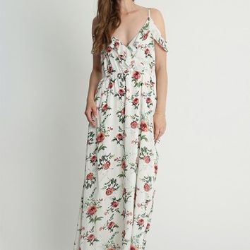 Divine Times Floral Print Cold Shoulder Maxi Dress