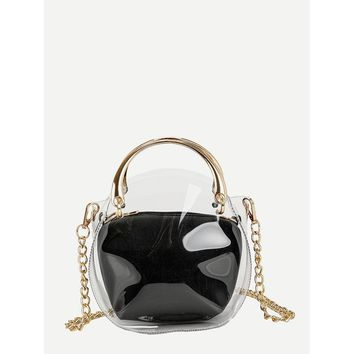 Clear Chain Bag With Inner Clutch Black