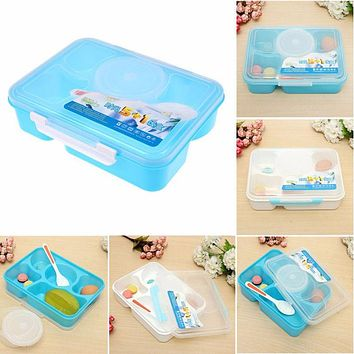 Large Capacity Bento Lunch Food Container Dinnerware Sets PP Plastic Singel Layer Outdoor Picnic Lunch Storage Box Tableware