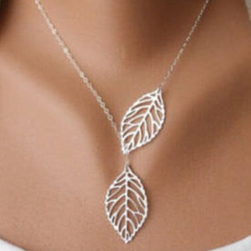 Fashion Women Silver Branch Leaves Charm Pendant Bib Necklace