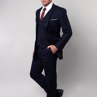 Navy Tone on Tone Stripe Suit