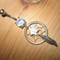 Star Dream Catcher Belly Button Ring- Dreamcatcher Jewelry Charm Dangle Navel Piercing