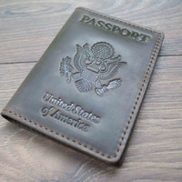 Passport Leather Cover, Passport Wallet, Passport Holder, Leather Passport Cover, USA Passport, Groomsmen Gifts, Travel Wallet, Accessories