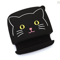 JetPens.com - Lihit Lab Smart Fit PuniLabo Earphone Holder - Black Cat