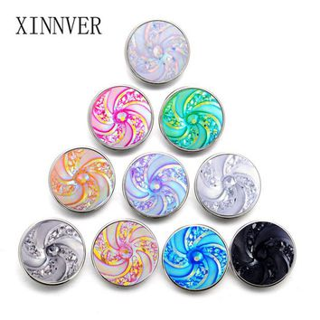 10pcs/lot Colorful Windmill Snap Button Jewelry Mixed Style Ginger Alloy Resin 18mm Snap Buttons fit Snap Bracelet Bangles