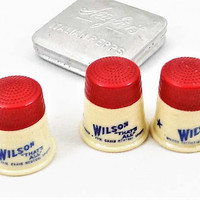 Plastic Advertising Thimbles, Set of 3, Wilson Distributing Co, Bristol Pennsylvania, Vintage Sewing Notions