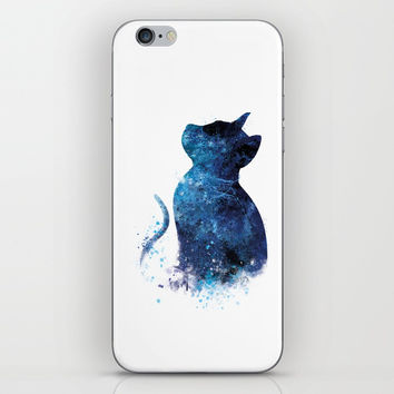 Blue Cat iPhone Skin by monnprint