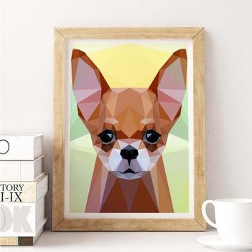 Chihuahua Dog Painting Poster Art Print Canvas