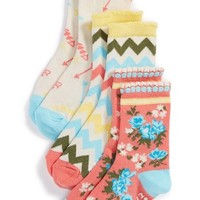 Girl's Tucker + Tate 'Spring Flowers' Nonskid Crew Socks (3-Pack)