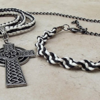 Father's Day Jewelry, Black and White Macrame Cord Celtic Cross Men's Necklace, Unisex Hemp Jewelry, Man Gift with Matching Bracelet