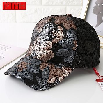 Sequins Mesh Cap Adjustable Polyester Hats Snapback Outdoor Sports Floral Paillette Breathable Gorras Women Baseball Caps 6018