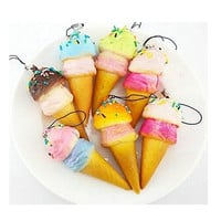 Squishy Cell phone Charms Kawaii Ice cream Key Chain with Sprinkles Gift Bag Straps SM6