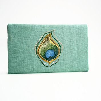 Teal Clutch/Wallet With Embroidered Peacock Design/Zippered Wallet/IPhone Pouch/Peacock Clutch/Peacock Wallet
