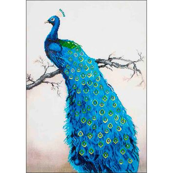 "Blue Peacock Diamond Dotz Diamond Embroidery Facet Art Kit 25.25""X34.5"""