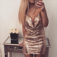 Ziamonga Sexy Deep V Neck Backless Dress Mini Fashion Chic Glitter Sequin Dress Elegant Mini Short Party Dresses Women Dress