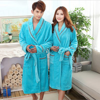 New Winter Warm Coral Fleece Couples Bathrobes  Long-sleeved Bath Robe Male Female Thickening Bathrobes Dressing Gown Peignoir