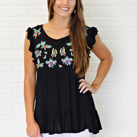 * Chaley Embroidered Detail Top : Black