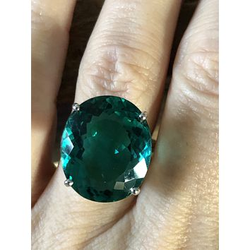 14K White Gold 12.10CT Oval Cut Blue Green Paraiba Solitaire Ring