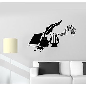 Vinyl Wall Decal  Musical Instrument Harp Book Feather Manuscript Stickers Mural (g1635)